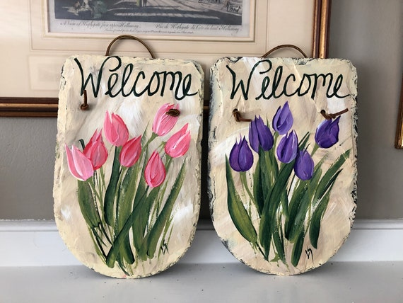 Tulip welcome sign, Easter sign, Spring door hanger, Spring door hanger, Painted Slate, Slate sign, Spring sign, porch decor, garden decor