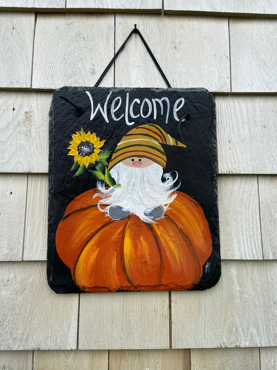 Fall welcome sign, Fall slate plaque, welcome plaque, door hanger, Fall slate sign, Fall sign, welcome sign, Gnome slate sign, porch decor