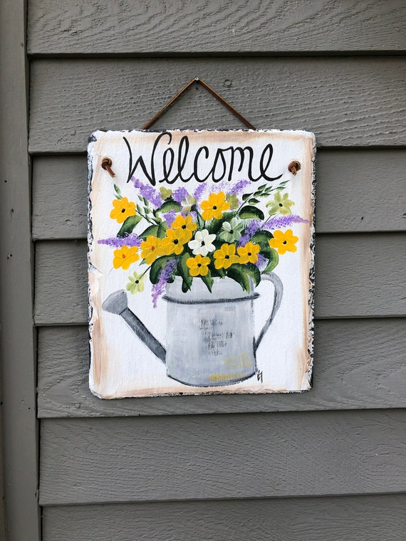 Summer slate sign, painted Slate, porch decor, WElcome plaque, Outside Door hanger, door sign, Summer welcome sign, Slate sign, garden decor