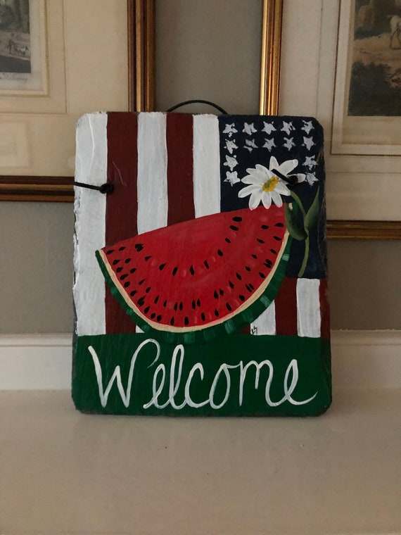 Fourth of July Decor, Painted Slate for Independence Day, Fourth of July door decor, Summer Welcome sign, Summer Door hanger, Welcome sign