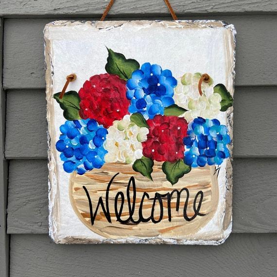Red white blue slate sign, Painted slate sign, Hydrangea door hanger, july 4th slate, Slate welcome plaque, summer slate sign, Painted slate
