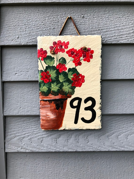 Address Signs, House Number sign, Custom Painted Slate Address Sign, House sign, Door hanger, Address sign for house, Address plaque