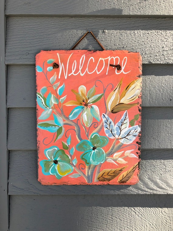 Spring welcome sign, Spring door hangers, Hand Painted slate, Spring door decoration, Spring Welcome plaque, Outdoor spring decorations,