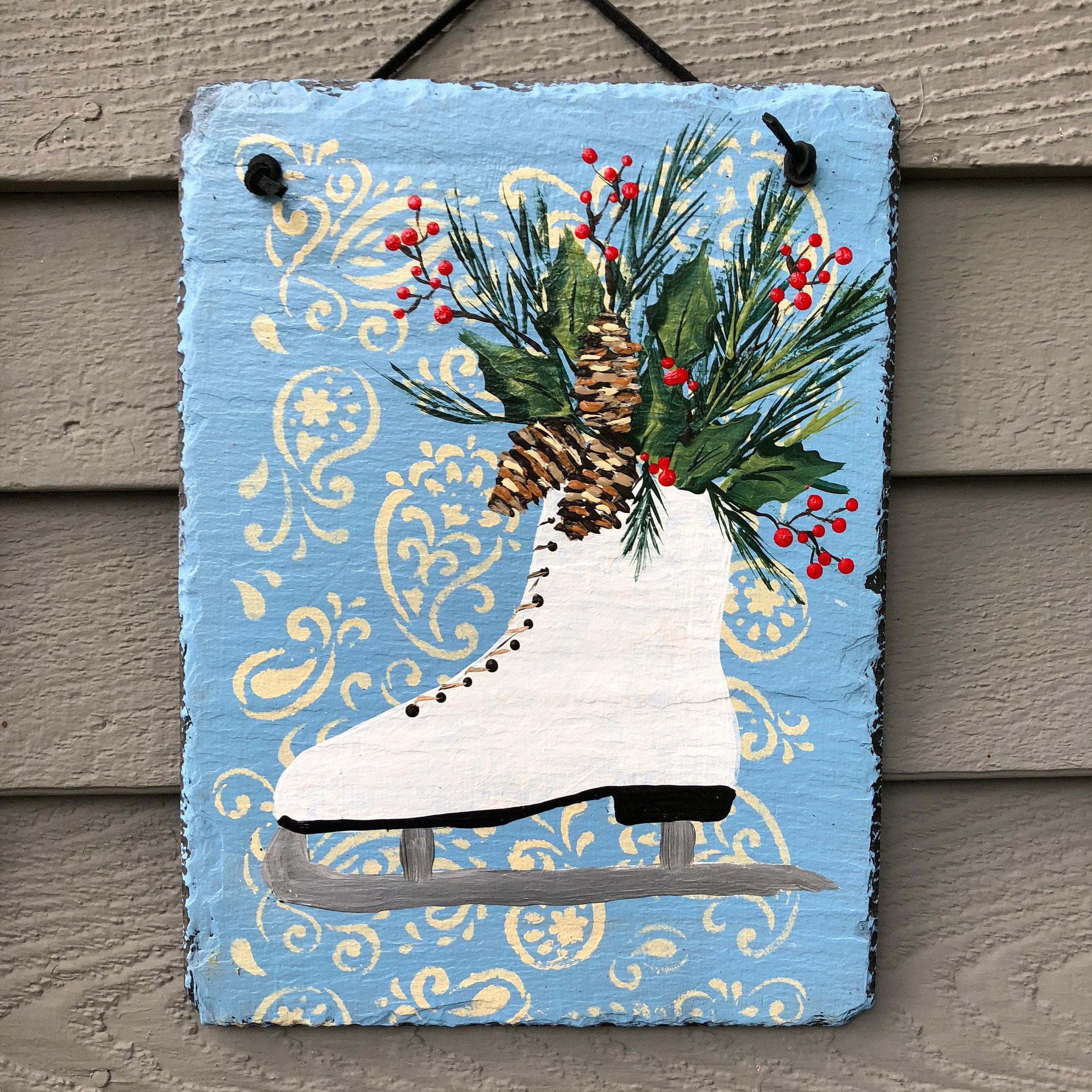outside winter decorations winter door hanger winter ice skate slate door hanger hand painted slate holiday door hanger christmas decor