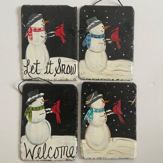 Snowman Slate plaque, Winter slate sign, Painted slate tile, Slate Sign, door hanger, Christmas slate, Slate plaque, Slate welcome plaque