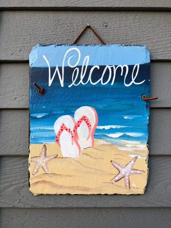 Summer Welcome Sign,Summer Door hanger, Door decorations, Beach house decor, Coastal decor, Beach wall hanging, Porch decor, coastal decor