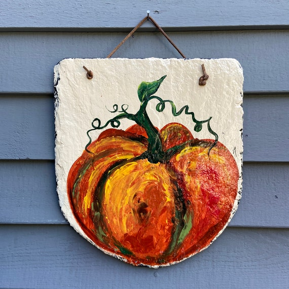 Pumpkin Slate sign, Thanksgiving decor, Pumpkin slate tile, Fall door hanger, painted slate, painting on slate, porch decor, Slate sign