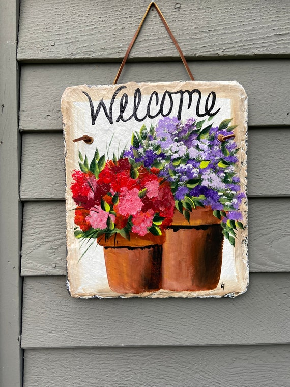 Hand Painted Slate sign, Spring Welcome sign, Front door Slate, Spring Slate Sign, door hanger, Spring slate, Slate welcome plaque