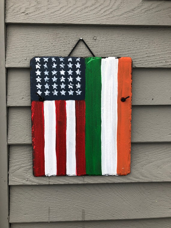 Painted slate. Irish American Flag slate sign, Irish sign, Painted slate sign, Irish decor, American flag sign, Front door decoration, Irish