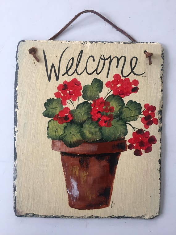 Spring slate sign, Red geraniums Welcome sign , welcome plaque, Painted slate,, Door hanger, Patio decor, Gift for Mom, Mother's Day gift