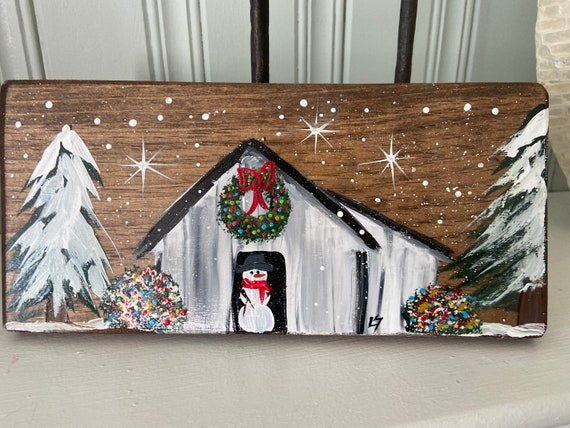 Painted wood Christmas Barn sign, Country Christmas sign, Christmas wall hanging, Christmas Barn shelf sitter, Wood Christmas painting