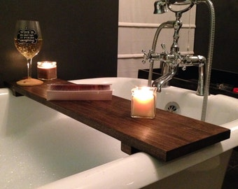 Rustic Bathtub Caddy Bath Tray Poplar Wood Clawfoot Tub Tray
