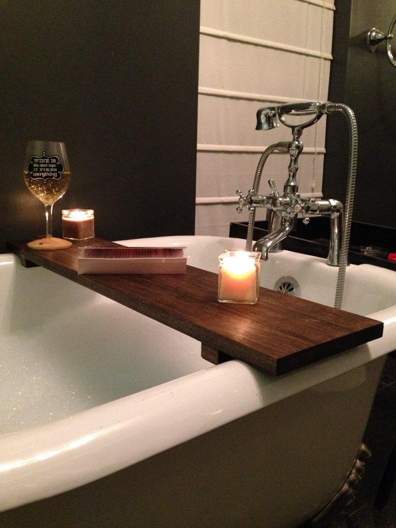 Rustic Bathtub Caddy Bath Tray Poplar Wood Clawfoot Tub Tray Etsy