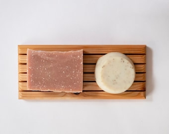 Zero Waste Shower Set: Long Cedar Soap Tray, Solid Shampoo Bar, and Sheep's Milk Soap, Eco Friendly Gifts, Gifts for Her