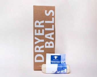 Natural Laundry Gift Set: Three Pack of Wool Dryer Balls and One Felted Laundry Stain Stick—Gifts Under 50, Gifts for Her, Housewarming Gift