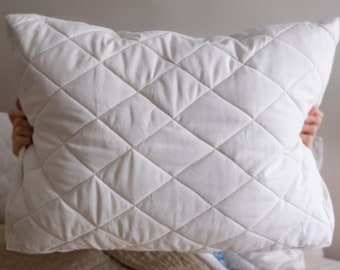 Adjustable Quilted Wool Pillow with hemp and cotton cover, standard sized –Expected Ship Date Late Winter 2021