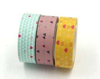 Washi Tape Set (3 Rolls), Mint Yellow Hearts Party, BOHO Retro Tape, Decorating Packaging Tape, Planner Journal Tape DIY Decor Wall Tape #6