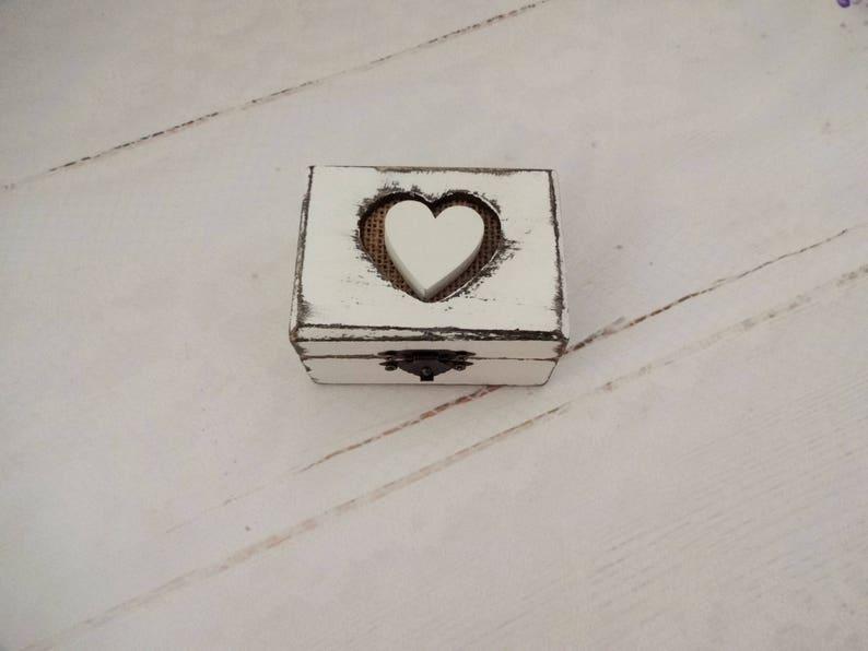 Small White Rustic Ring Bearer Box