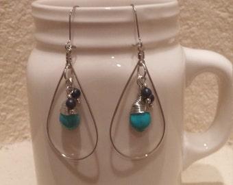 Silver and turquoise beaded hoop earrings