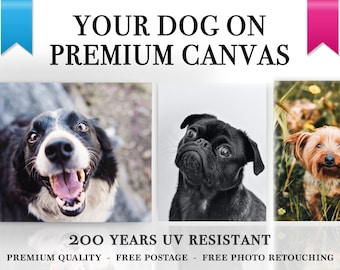 Your Dog On Canvas - Custom Pet Canvas, Ready to Hang, Pet Canvas, Custom Canvas, Your Photo On Canvas