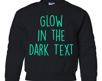 PERSONALIZED CUSTOM PRINT YOUR OWN GLOW IN THE DARK TEXT ON A T-SHIRT white