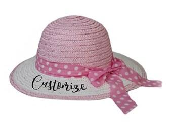 0ad60cdb046 CUSTOM Girls Polka Dot Bow Sun hat