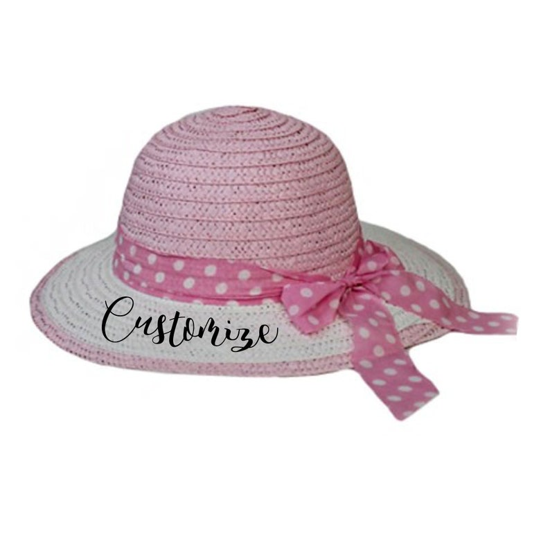 56cb10e6a9849 CUSTOM Girls Polka Dot Bow Sun hat Personalized Straw Hat for