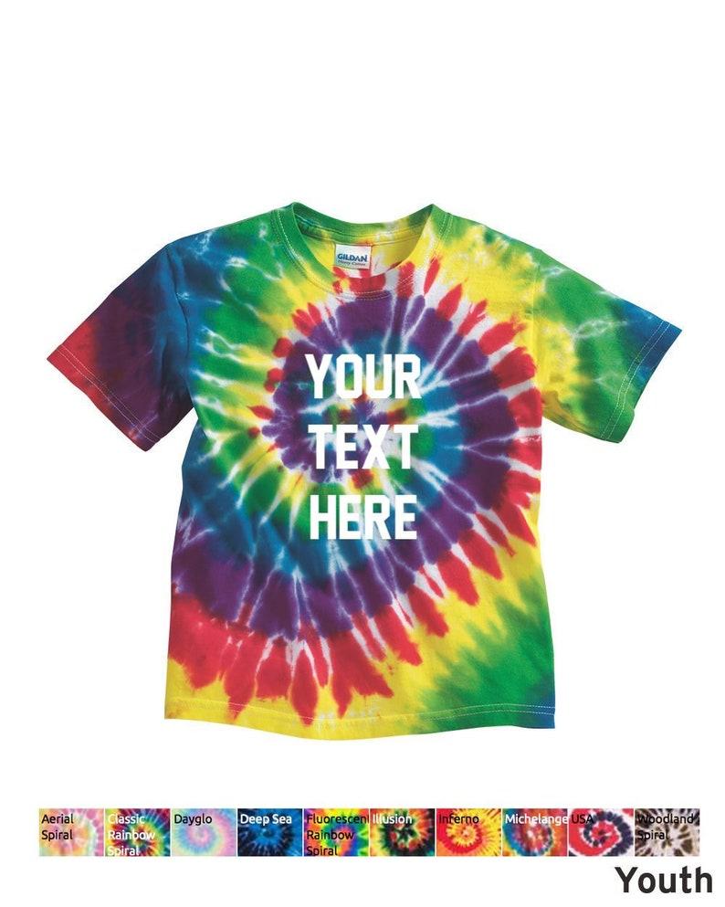 f0f481514a8 Kids CUSTOM Text Tie Dye shirt CUSTOM Text TeeYouth