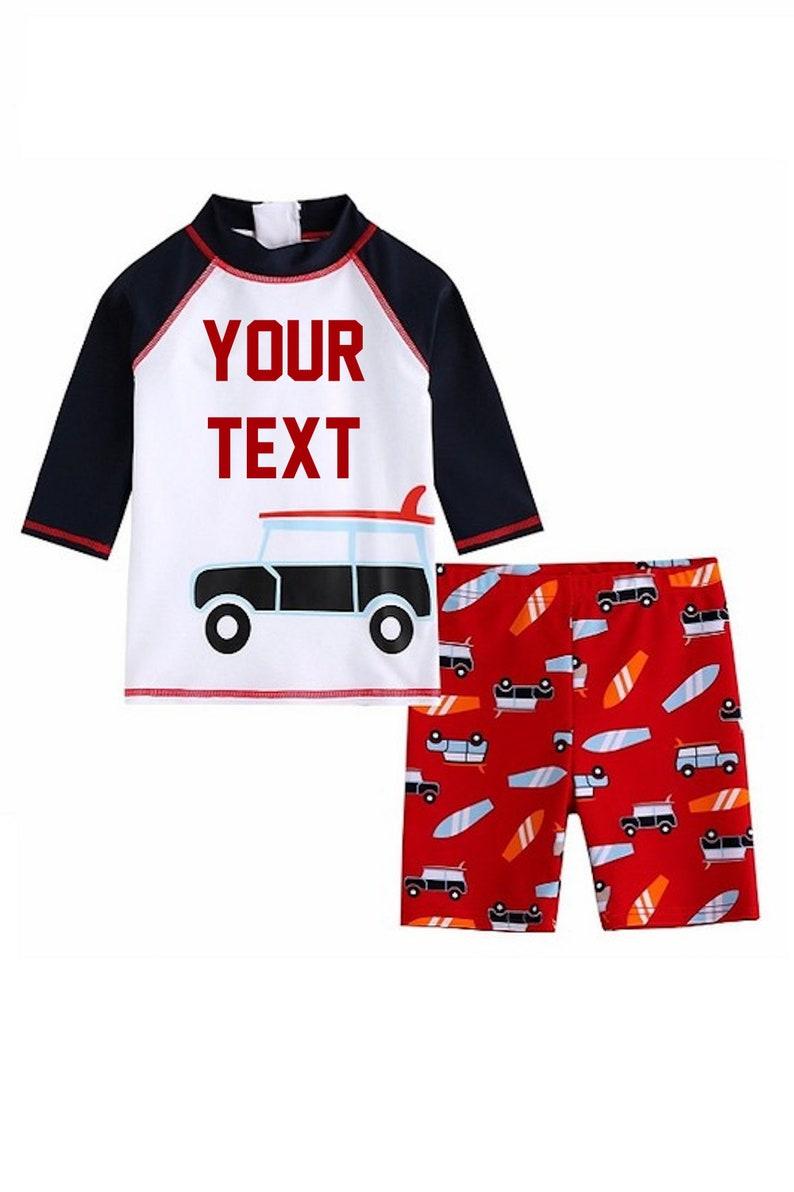 BOYS Personalized Swimsuit Set|Personalized Rash Guard /&Board Short|Kids Swimwear|Custom Text Swim Suit|Surf Board and Car Graphic Swimsuit