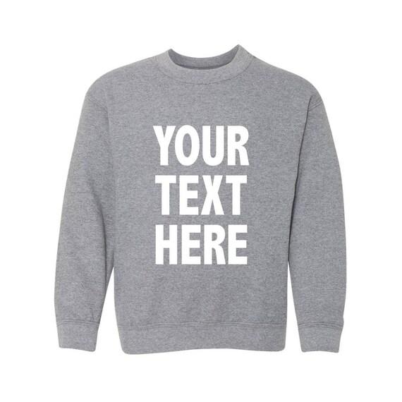 Kids Custom Crewneck Sweatercustom Text Crew Neck Etsy
