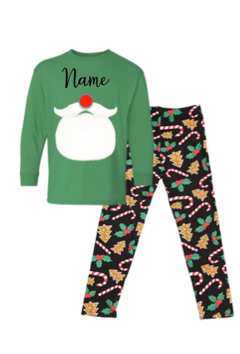 Custom Reindeer Antlers Kids Baby Pyjamas Personalised Christmas Eve PJs Gift
