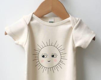 Organic baby onesie, Gender neutral baby clothes, Sun print design