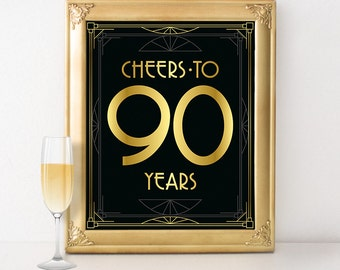 Printable 80th Birthday Sign Cheers To 80 Years Great