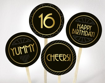Sweet Sixteen Birthday Cupcake Toppers Printable PDF Great Gatsby Gold And Black 16th Decorations
