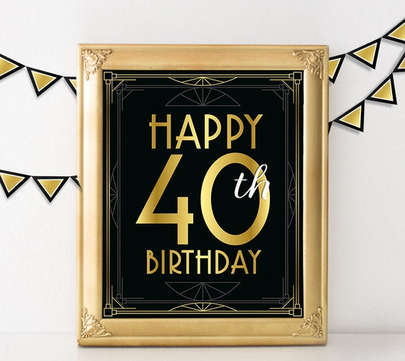 40th Birthday Decoration Happy Sign 40 Year