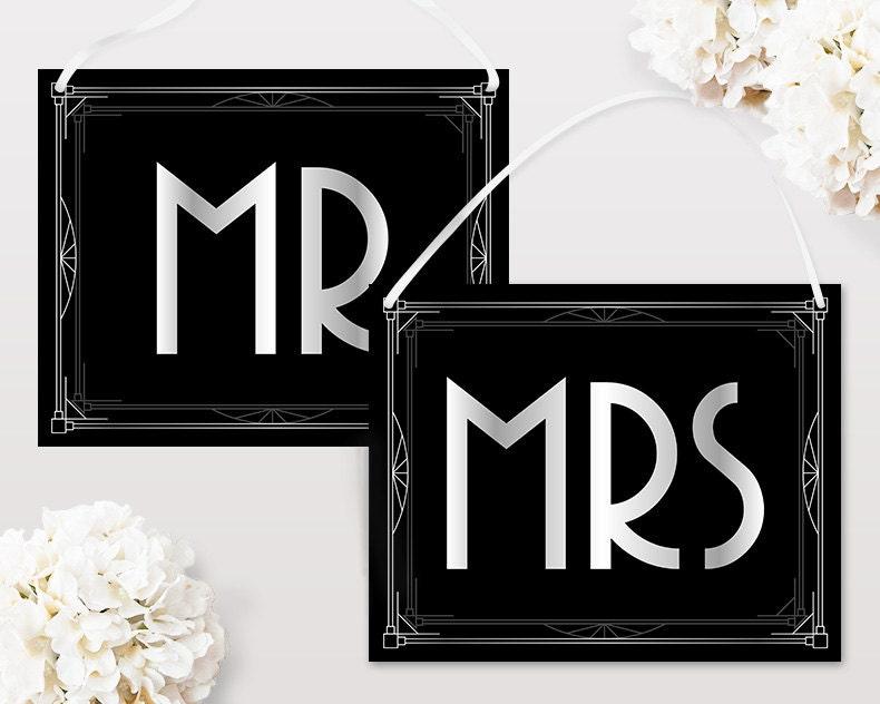 Mr And Mrs Signs For Chairs Wedding Decorations Printable Etsy