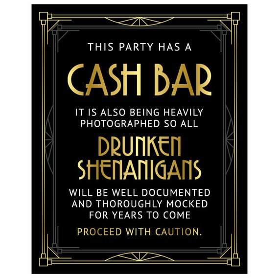 Cash Bar Sign Printable Files Digital Download Party Bar Etsy