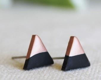 Rose Gold Dipped Triangle Earrings / Matte Black Earrings / Hypoallergenic Earrings / Stainless Steel Earrings / Titanium Earrings