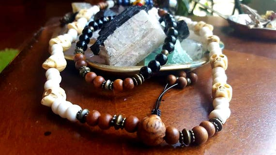 Blessed Natural Bone Skull Mala *5 Dakinis Vajrayogini *Buddhist Jade  Stretch Necklace/Bracelet Mala *Mala Guru Bead Blessed by Dalai Lama