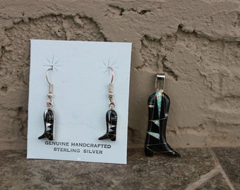 Onyx and White Opal Cowboy Boot Pendant and Earrings in Sterling Silver