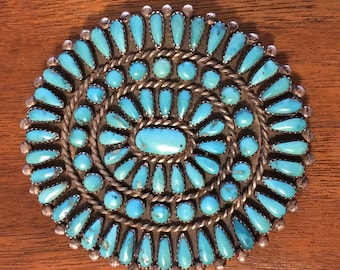 Turquoise and Sterling Silver Pendant/Brooche