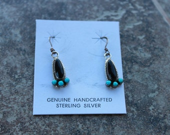 Onyx and Turquoise Tear Drop Earrings in Sterling Silver