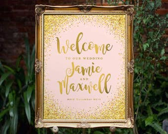 Printable Welcome Sign   Pink and Gold Sparkling Party Welcome Sign   Poster   Signage   Personalised   Printable ONLY   Digital ONLY