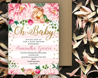 Pink Floral Baby Shower Invitation   5x7   Editable PDF   Instant Download   Personalize at home with Adobe Reader