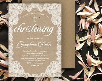 Lace Baptism Invitation   Christening   5x7   Editable PDF   Instant Download   Personalize at home with Adobe Reader