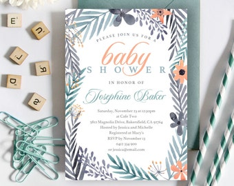 Watercolor Flower Baby Shower Invitation | 5x7 | Editable PDF | Instant Download | Personalize at home with Adobe Reader