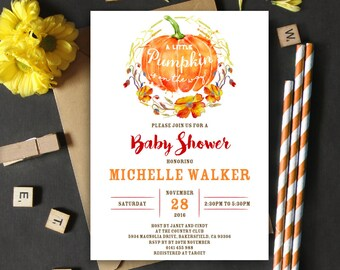 Pumpkin Baby Shower Invitation   5x7   Editable PDF   Instant Download   Personalize at home with Adobe Reader
