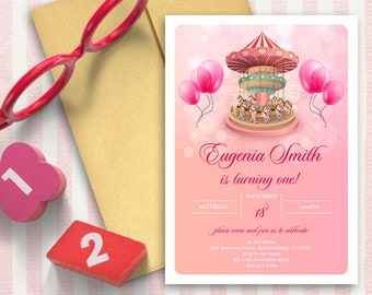 Flower Wreath Invitation   Girl   5x7   Editable PDF File   Instant Download   Personalize at home with Adobe Reader