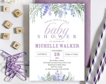 Lavender baby shower etsy lavender baby shower invitation 5x7 editable pdf file instant download personalize at home with adobe reader filmwisefo