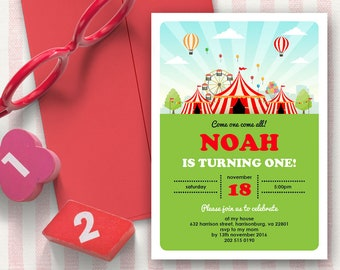 Carnival Invitation   5x7   Editable PDF File   Instant Download   Personalize at home with Adobe Reader